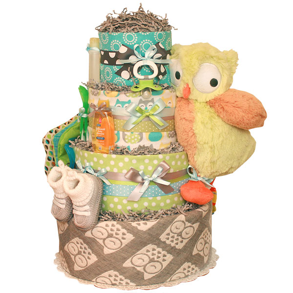 Grey Owl Diaper Cake