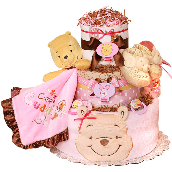 a2019064d150 Winnie the Pooh Diaper Cake for a Girl -  129.00   Diaper Cakes Mall ...