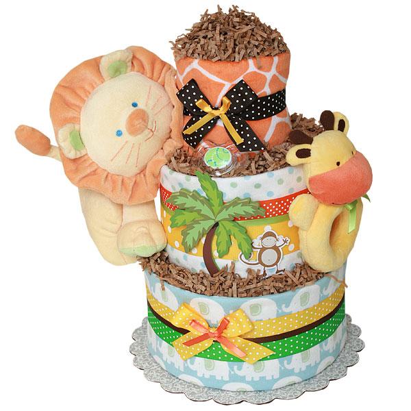 Custom Jungle Animals Diaper Cake