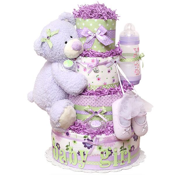 Baby Girl Lavender Bear Diaper Cake
