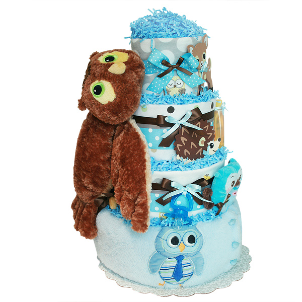 Wise Owl and Forest Friends Diaper Cake