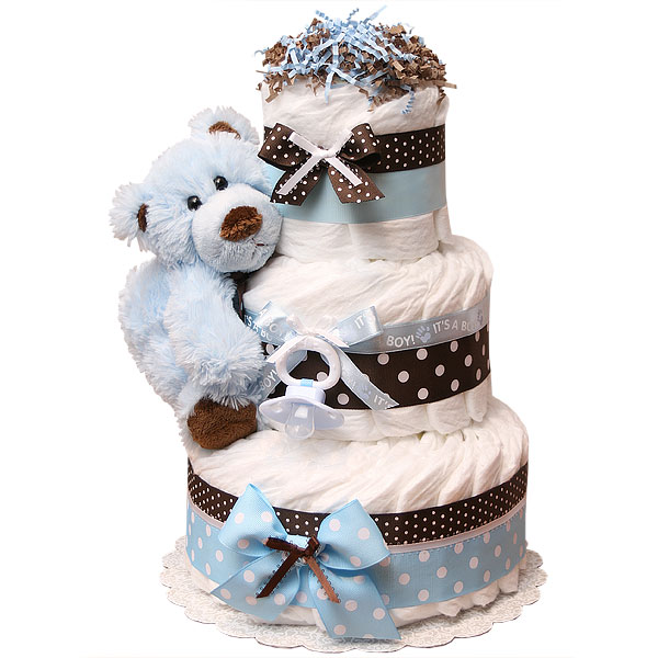 Modern Blue Bear Diaper Cake