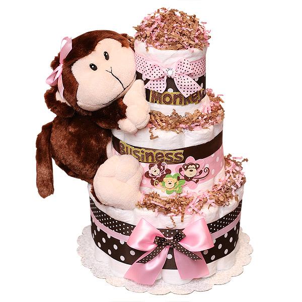 Cute Monkey Girl Diaper Cake 8200 Diaper Cakes Mall Unique