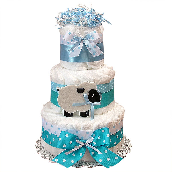 Blue Sheep Decoration Diaper Cake
