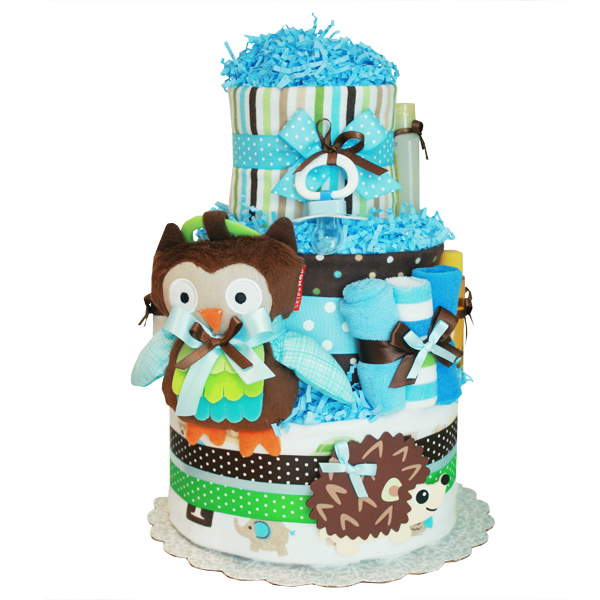 Owl and Hedgehog Forest Friends Diaper Cake