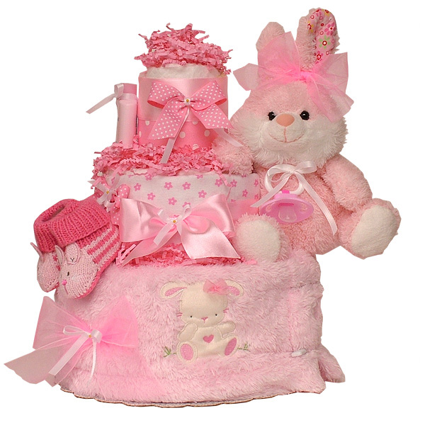 Winter Pink Bunny Diaper Cake