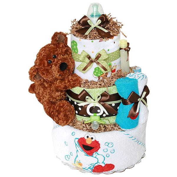 Elmo and Pooh Diaper Cake
