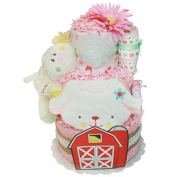Red Barn Farm Lamb Diaper Cake