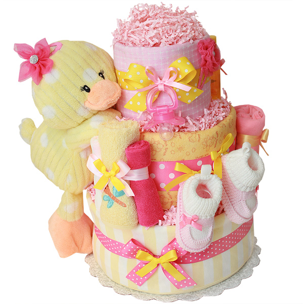 Little Pink and Yellow Ducky Diaper Cake