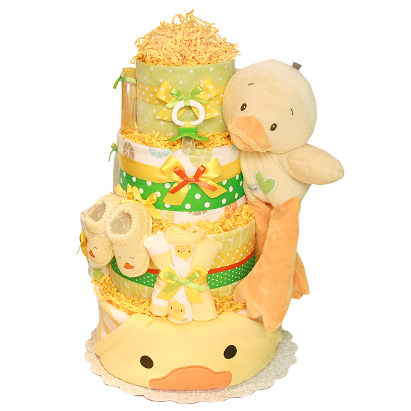 Green and Yellow Bath Duck Diaper Cake