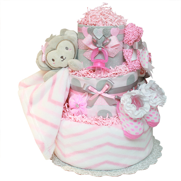 Cute Little Monkey Girl Diaper Cake