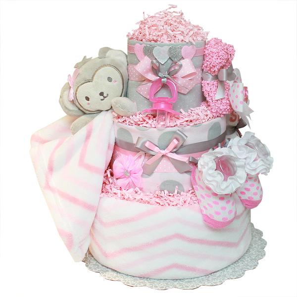 Cute Little Monkey Girl Diaper Cake