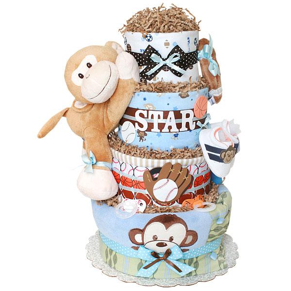 All Star Sport Monkey Diaper Cake
