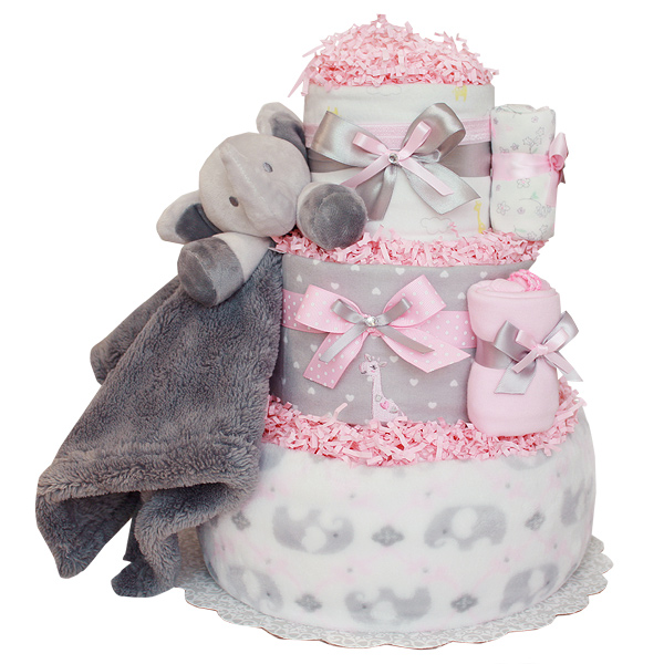 Cute Little Elephant Jungle Girl Diaper Cake