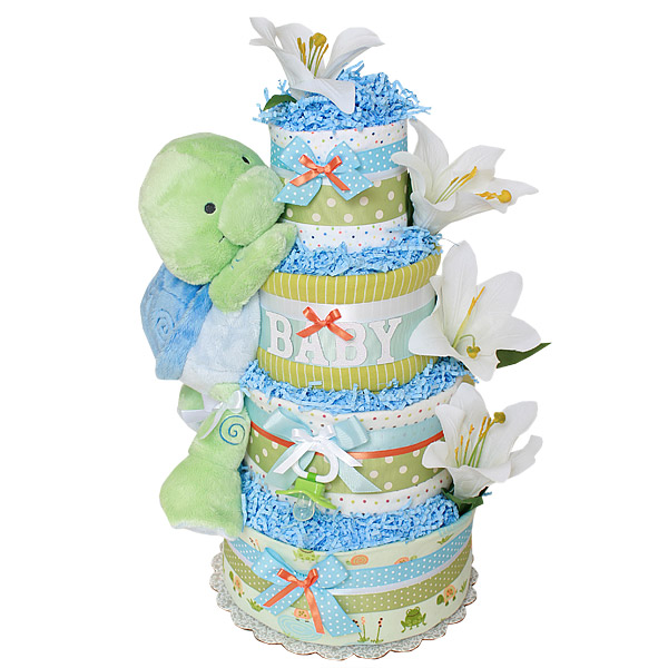 Custom Cute Baby Turtle Diaper Cake