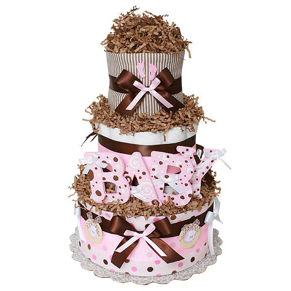 Chocolate Pink BABY Diaper Cake