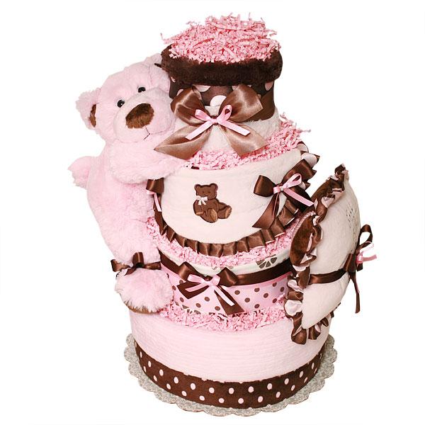 Big Pink And Brown Sleeping Bear Diaper Cake 17900 Diaper