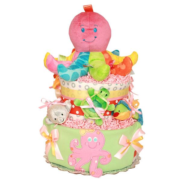 Pink Octopus Diaper Cake