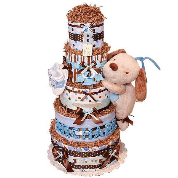 Brown and Blue Puppy Diaper Cake