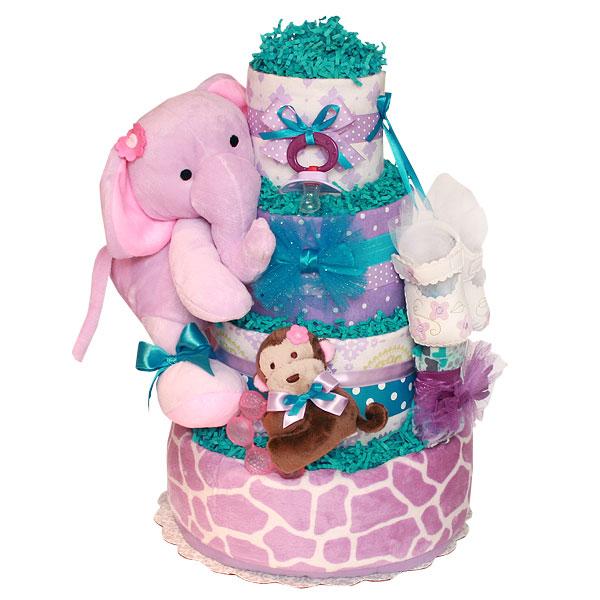 Cute Purple Elephant Diaper Cake