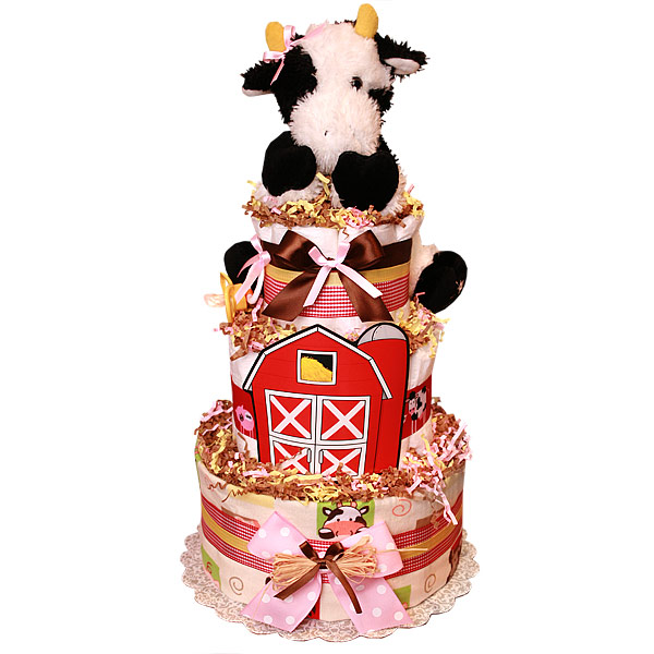 Farm Cow Custom Diaper Cake
