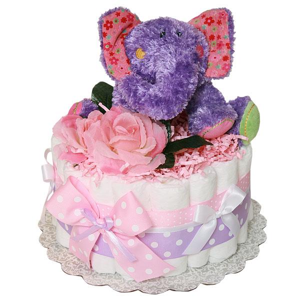Little Purple Elephant Diaper Cake