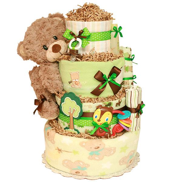 Cute Forest Bear Diaper Cake