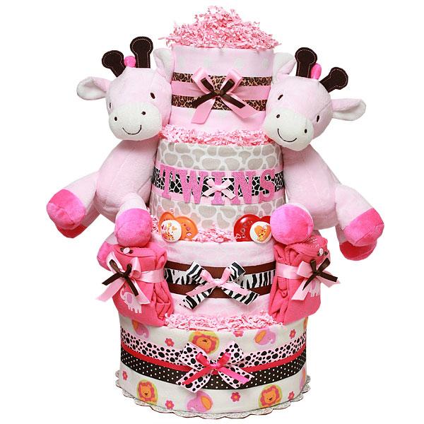 Twins Girls Giraffes Diaper Cake 184 00 Diaper Cakes Mall
