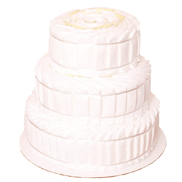 Undecorated Wide 3 Tiers Diaper Cake