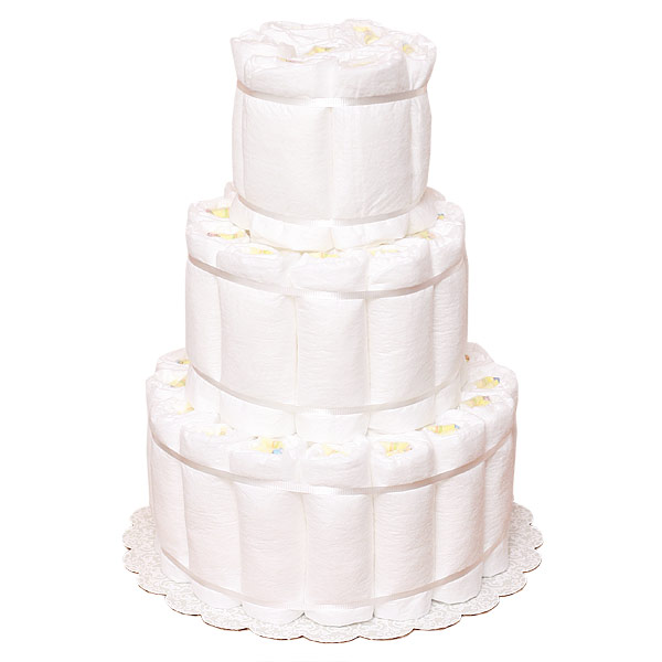 Undecorated Rolled 3 Tiers Diaper Cake
