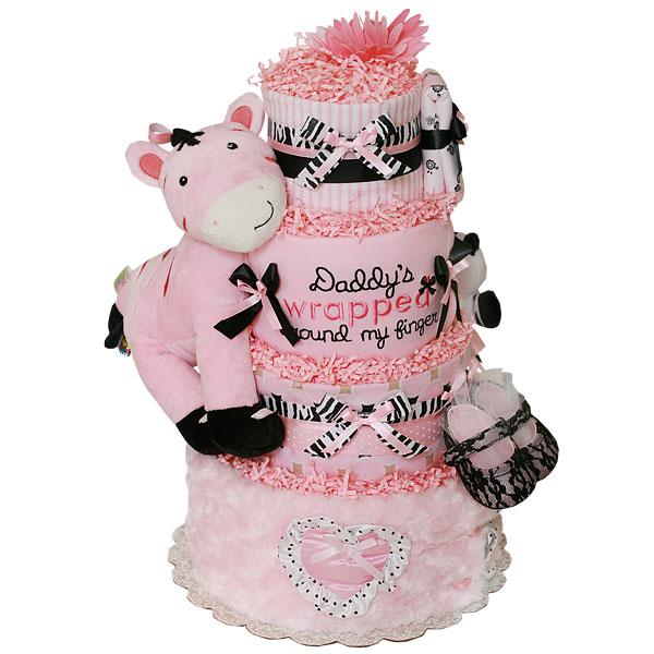 Daddys Girl Zebra Diaper Cake 18300 Diaper Cakes Mall Unique
