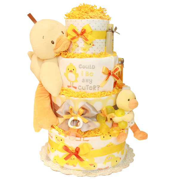 Yellow and Grey Duck Diaper Cake