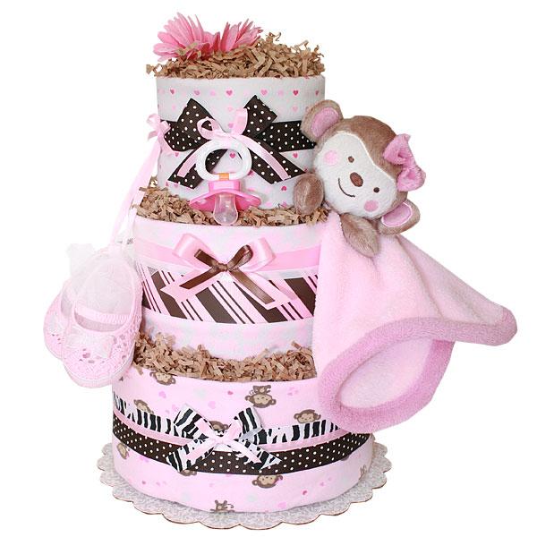 Girl Monkey Blanket Diaper Cake 11900 Diaper Cakes Mall