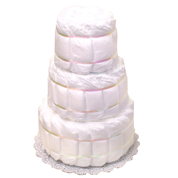 Three tier Undecorated Diaper Cake
