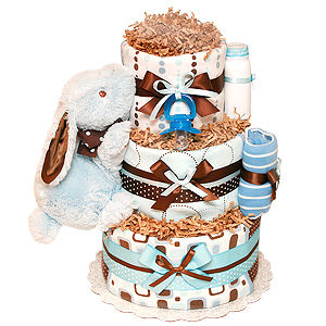 Blue and Brown Bunny Diaper Cake