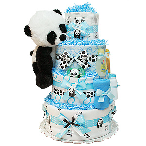 Cute Blue Panda Bear Diaper Cake