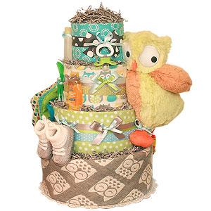 Grey Owl Diaper Cake