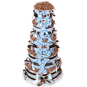 Brown and Blue BABY Five Tiers Diaper Cake