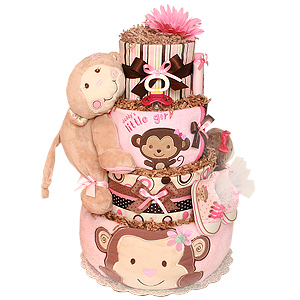Daddy's Little Baby Girl Monkey Diaper Cake