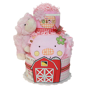 Red Barn Farm Pig Diaper Cake