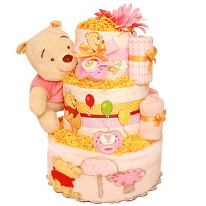 Pink and Yellow Pooh Diaper Cake