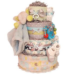 Grey and Blue Elephant Diaper Cake