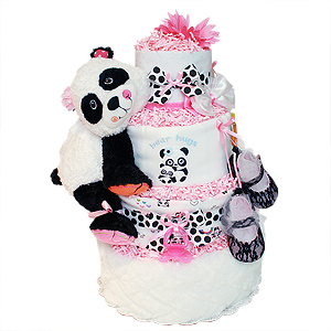 Cute Pink Panda Bear Diaper Cake