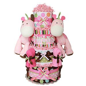 Twin Girls Jungle Giraffes Diaper Cake