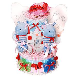 Twins! Girls! Butterfly Diaper Cake