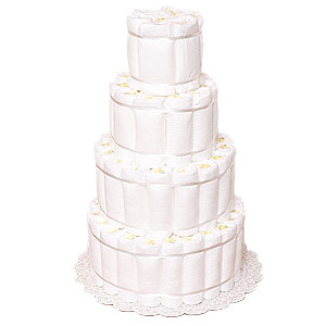 Undecorated Rolled 4 Tiers Diaper Cake