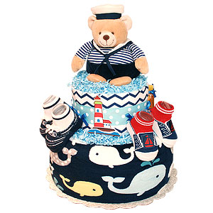 Sailor Bear and  Whale Diaper Cake