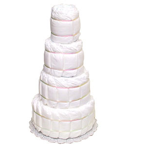 Undecorated 4 Tier Diaper Cake